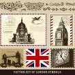 Vector set of London symbols and decorative elements — Imagens vectoriais em stock