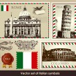Vector set of Italian symbols - Stock Vector