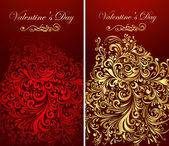 Holiday invitation decorated gold patterns — Stockvector