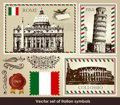 Vector set of Italian symbols — Stock Vector