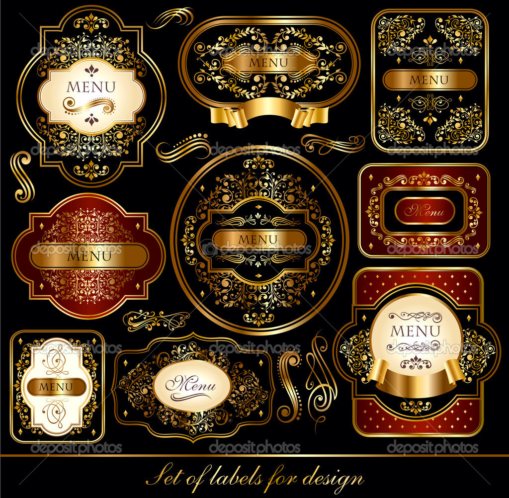 Vector set of black-golden labels with ornaments — Stock Vector #8436012