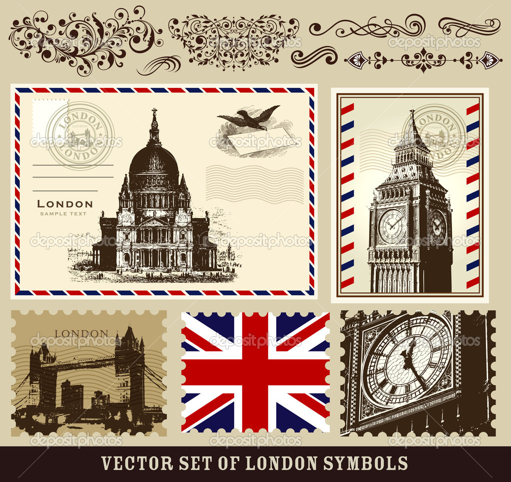 Vector set of London symbols and decorative elements — Векторная иллюстрация #8436862