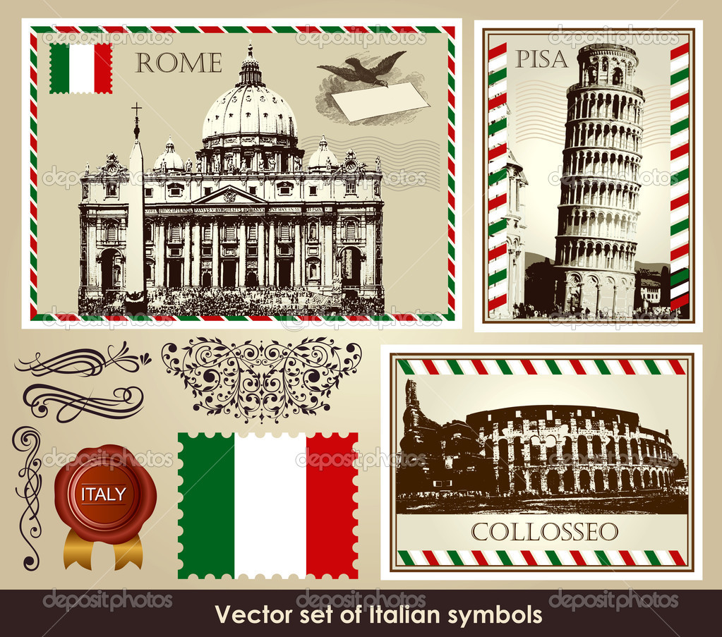 Depositphotos Stock Illustration Italian Culture And Travel Icons