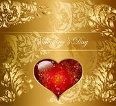 Bella carta oro con cuore rosso — Vettoriale Stock