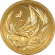 Stock Vector: Vector Japanese money gold coin with phoenix