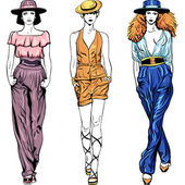 Vector set fashion top models in trouser suits and hats — Stok Vektör