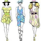 Vector set fashion top models in summer dresses and hats — Stock Photo