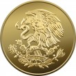 Stock Vector: Vector Mexicmoney gold coin with image of heraldic ea