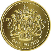 Vector British money gold coin one pound with the coat of arms — Stock vektor
