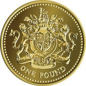 Vektor britische geld gold münze ein pfund mit dem wappen — Stockvektor