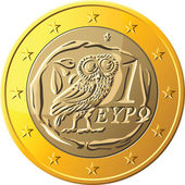 Vector Greek money gold coin one euro featuring owl — Stock Vector