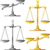 Ensemble de vecteur d'or et d'argent de balance de la justice — Vecteur