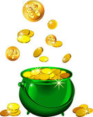 Vector St. Patrick`s Day green pot with gold coins — Stock Vector