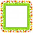 vector square frame of colorful spring tulips in grass — Stock Vector