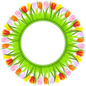 Vector round frame of colorful spring tulips in grass — Stock Vector