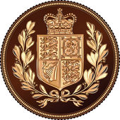 Vector Reverse of Gold Sovereign coin, British money — Stock Vector