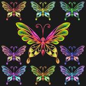 Wektor zestaw kolorowe motyle — Wektor stockowy