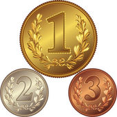 Vector set of gold, silver and bronze medals for first, second, — Stock Vector