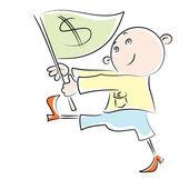 Cartoon man carries a flag with a dollar sign — Stock Vector
