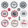 Collection of Premium Quality Wine Labels with retro vintage styled design - Stok Vektör