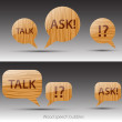 Royalty-Free Stock Vector Image: A set of Speech wooden bubbles. Vector