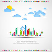 Funny city theme background with sun and clouds. — Vector de stock