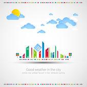 Güneşin ve bulutların birlikte komik city tema arka plan. — Stok Vektör