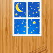 Royalty-Free Stock Vector Image: Nigth behind the window. Vector
