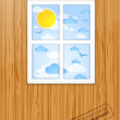 Royalty-Free Stock Vector Image: Summer behind the window. Vector