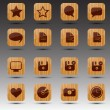 Square wooden web icons — Stock Vector