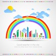 Stock Vector: Funny city theme background with rainbow.