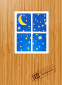 Nigth behind the window. Vector — Stockvector