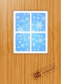 Winter behind the window. Vector — Stockvector