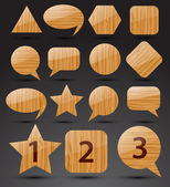 Set of wooden icons. Vector — Stock Vector