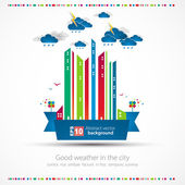 Funny city theme background with rain. — Stock Vector