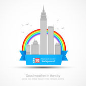 Funny city background with rainbow — Stock Vector