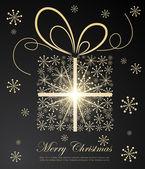 Абстрактный Золотой Рождественский подарок на темном фоне — Cтоковый вектор