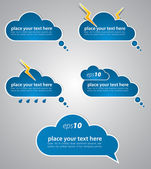Different colored speech bubbles in weather clouds style. — Stock Vector