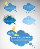 Different colored speech bubbles in weather clouds style — Stock Vector