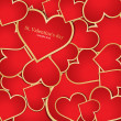 Background with red hearts. Vector — Stockvektor