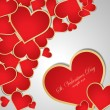 Background with red hearts. Vector — Vector de stock