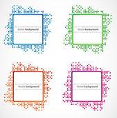Pixel art. Vector set of borders. — Stock Vector