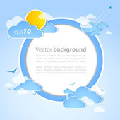 Good weather round background. Blue sky with clouds. Vector — Vector de stock