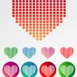 Set of pixelated love hearts. vector — Stock Vector