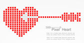 Pixel heart with cupid arrow. Vector — Stock Vector