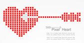 Pixel heart with cupid arrow. Vector — Stock Vector