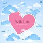 Pink heart in the sky. Vector — Stock Vector #8893386