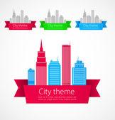 Arte conceptual de colores de la ciudad. vector — Vector de stock