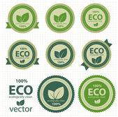 Eco labels with retro vintage design. Vector — Vecteur