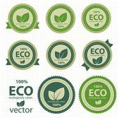 Rótulos ecológicos com design retro vintage. vector — Vetorial Stock